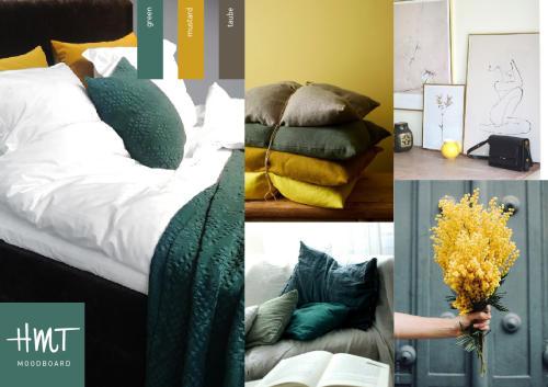 JURMA - sengetæppe og puder i bomuld